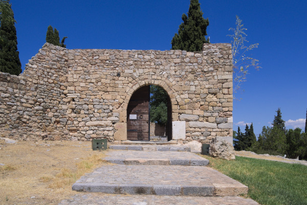 The main entrance of Karababa Castle on the top of Kanithos hill in Chalkida city.