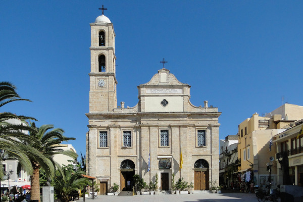 The front part and the main entrance of the Presentation of the Virgin Mary Cathedral in Chania.