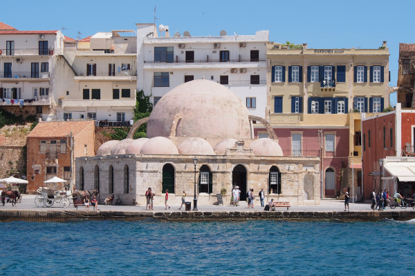 The exterior of the Küçük Hasan Mosque in the old port of Chania.