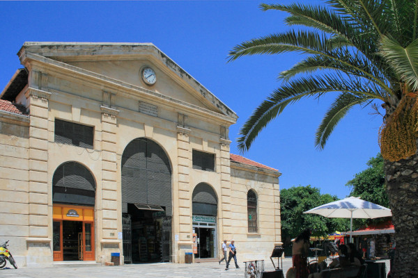 The front side and the main entrance of the Municipal Market of Chania.
