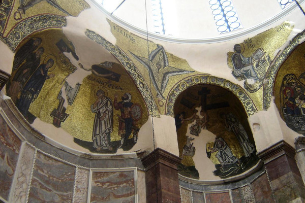The fine art mosaics around the dome of the church in «Nea Moni of Chios» Monastery.