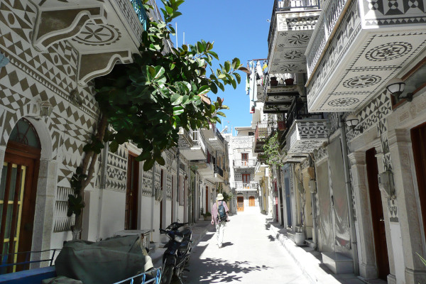 A narrow pedestrian road in the village of Pyrgi on the island of Chios.