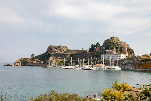 An overview of the peninsula that hosts the Old Venetian Fortress in the old town of Corfu.