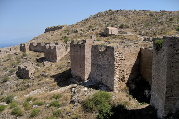 The remaining walls of the fortifications of the Acrocorinth Castle of Corinth.