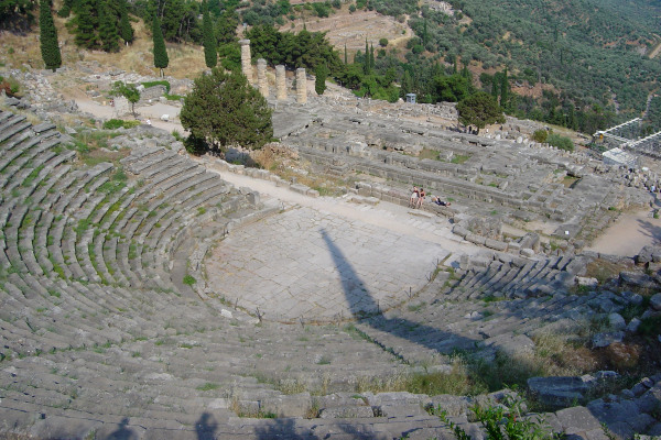 A picture showing the overview of the Ancient Theatre of Delphi.