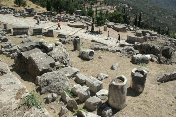 The overview of paved Sacred Way at Delphi that was followed by the faithful who were to ask for an amulet.