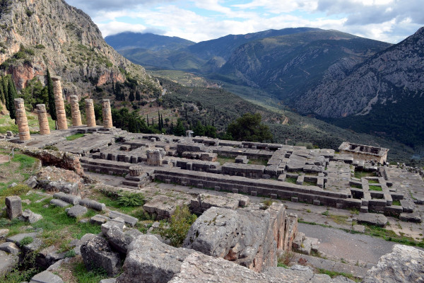 An image of the remains of the Temple of Apollo in Delphi.