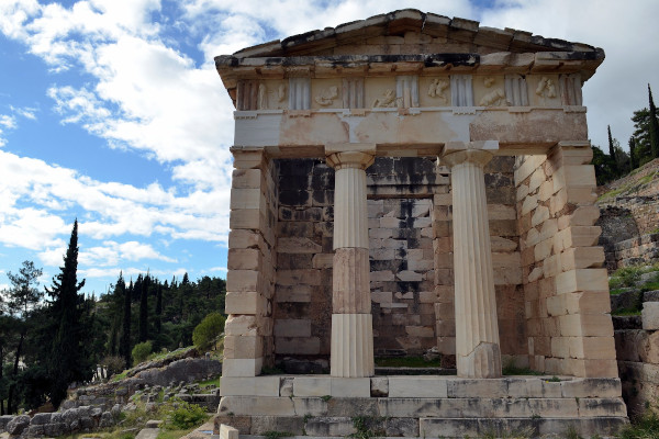 The front side of the structure of the Treasury of Athenians in Delphi.