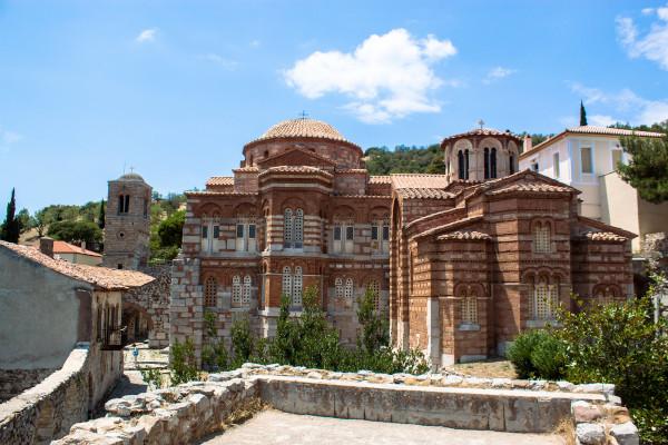 The main church of the Byzantine Monastery of Osios Loukas on the foothills of Elikonas mountain.