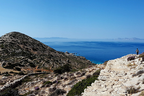 The ruins of an ancient settlement in Mersini with the great view of the sea in the background.
