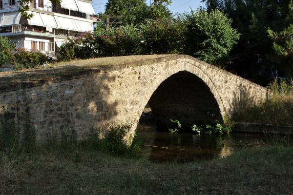 The ancient bridge of Kioupri surrounded by trees.