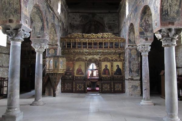 The main corridor of the interior of the church of the Koimisis in Edessa.