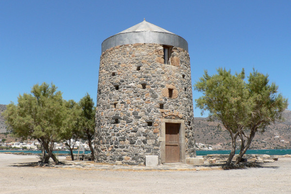 An old stone-built windmill at the area Poros close to Elounta.