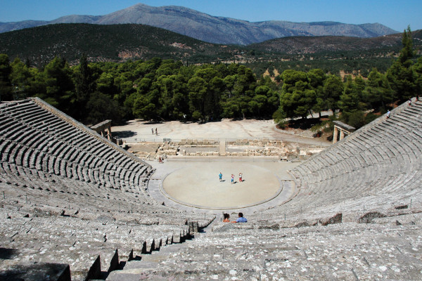 An overview of the Amphitheater (Ancient Theatre) of Epidaurus.