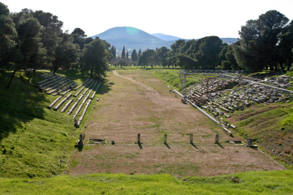 An overview of the Stadium of the Asclepieion at Epidaurus.