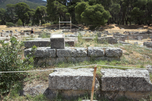 An image of the remains of the Temple of Artemis at Epidaurus.
