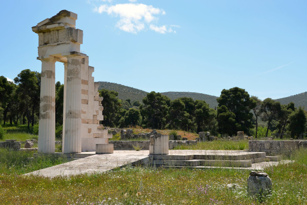 Remains of the Temple of Asklepios at Epidaurus.