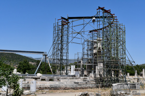 The remains of the Tholos of the Asklepeion at Epidaurus during some restoration works.