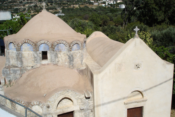 An overview of the exterior of the Byzantine Church of Episkopi in Lasithi region.