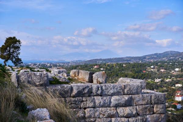 Some of the remains situated at the Acropolis of Eretria and the great views from the Kastelli Hill.