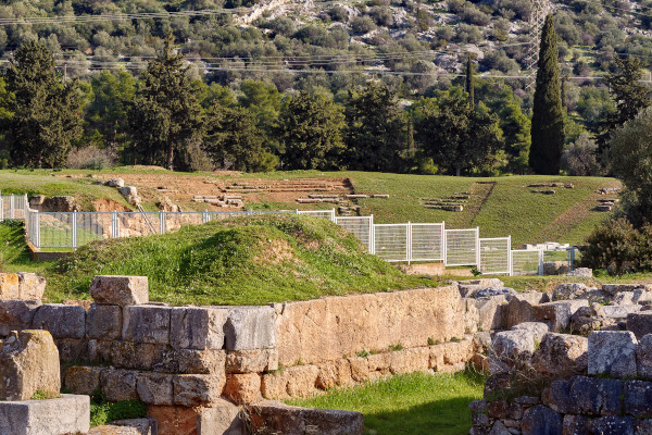 A picture of the Ancient Theatre of Eretria that is behind the fence and below the trees surrounding the site.