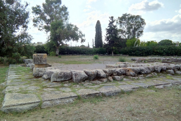 Remains of the Temple of Apollo Daphnephoros in the ancient city of Eretria.