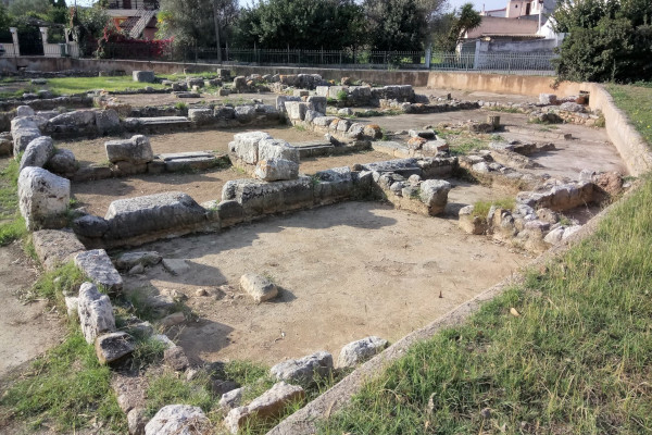 The remains of the Temple of Isis of Eretria.