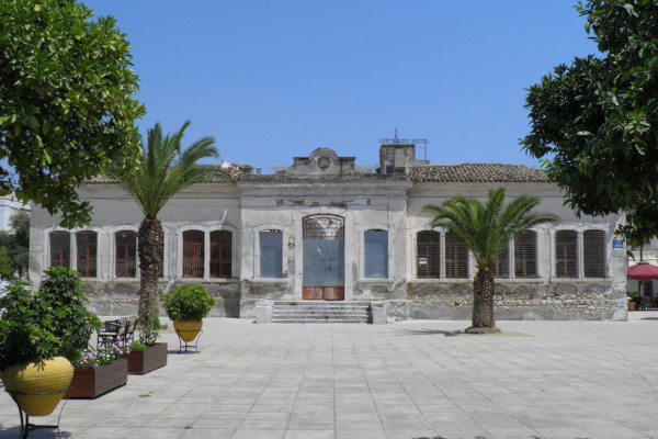 The front side and the main entrance of the Cultural Center (Old Girl's-school) of Gytheio.