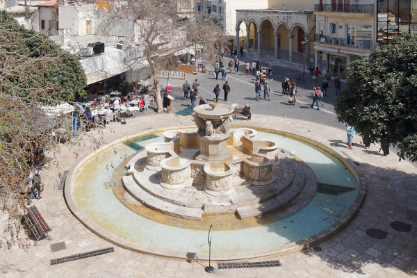 An panoramic picture showing the Lions Square & the Morosini Fountain in Heraklion, Crete.