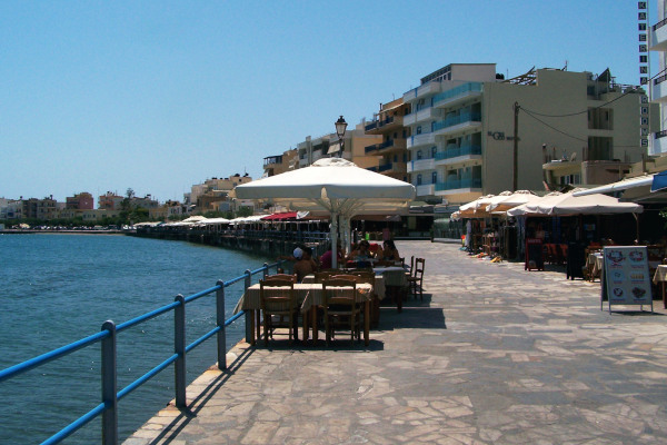 The pedestrian seafront promenade of Ierapetra on Crete.