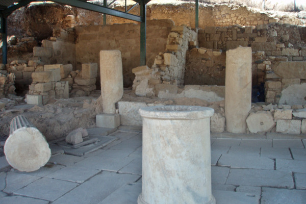 Ancient columns and foundations as remains of the ancient city of Akanthos in Halkidiki.
