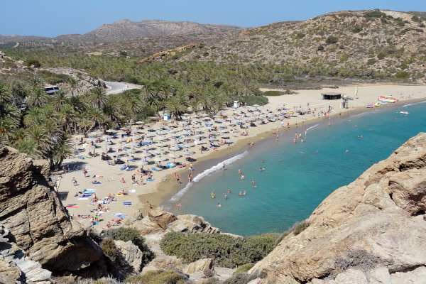 An overview of the Vai Beach and Palm forest on the island of Crete.
