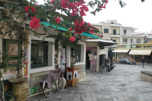 Small shops in one of the pedestrian streets in the Old Town of Kalamata.