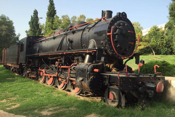 A steam locomotive displayed in the Municipal Railway Park of Kalamata.