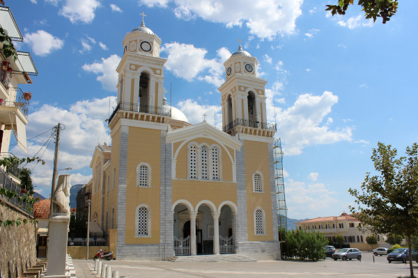 The exterior and the front side of the Ypapanti Church of Kalamata.