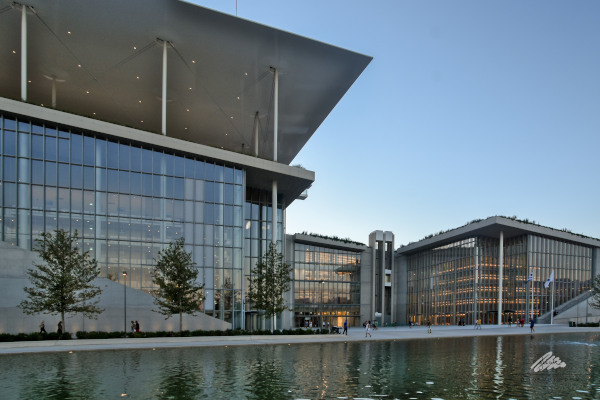 The front part and the entrance of Stavros Niarchos Foundation Cultural Center in Athens.