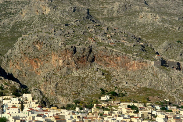 The medieval castle town of Kalymnos just above the Chorio, the old capital of the island.
