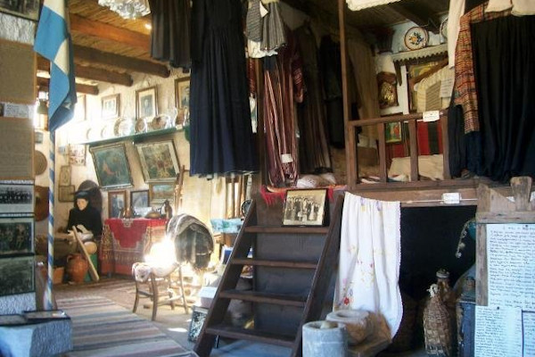 A picture of the interior of a room of the Traditional Kalymnian House (Folklore Museum).