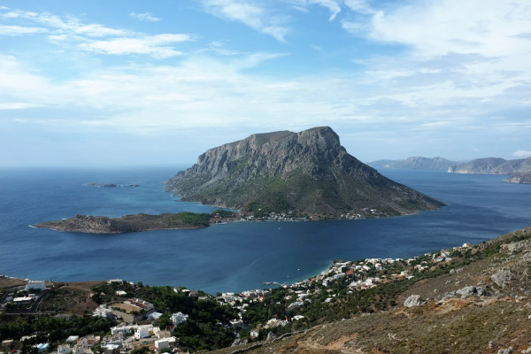A panoramic photo of the Telendos island taken from the island of Kalymnos.