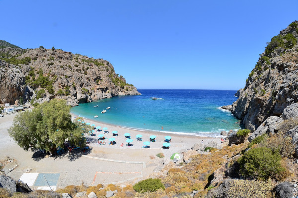 A overview of the Achata Beach on Karpathos.