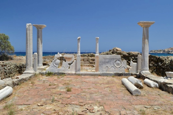 A picture of the remains of the Agia Fotini church at Pigadia of Karpathos.