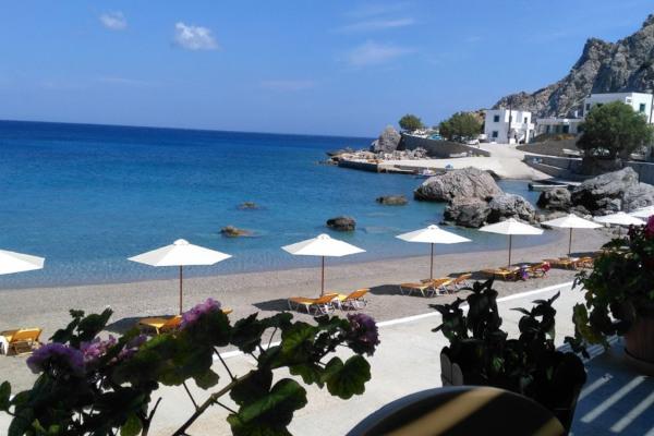 A photo showing a part of the Ag. Nikolaos (Spoa) Beach on Karpathos.