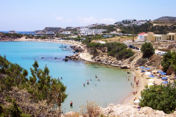 A panoramic image depicting the complex of the Ammopi Beaches in Lakki village of Karpathos.