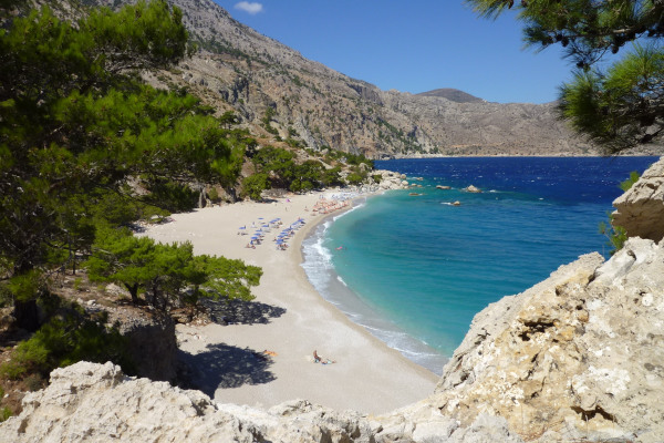 An overview of the Apella Beach on Karpathos.