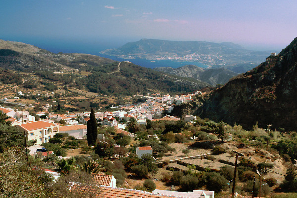 An overview of the Aperi village in Karpathos with the sea in the background.