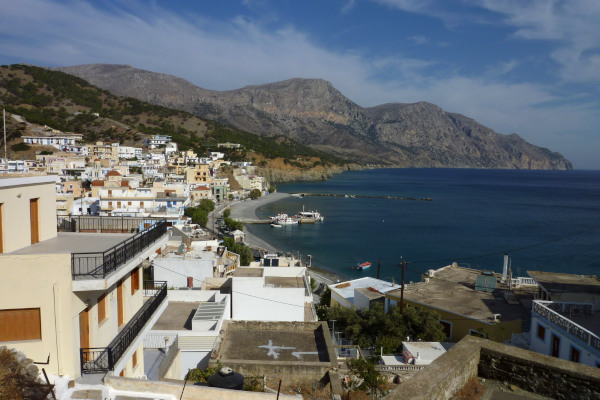 A panoramic picture that shows a part of Diafani settlement on Karpathos and its coastal landscape.