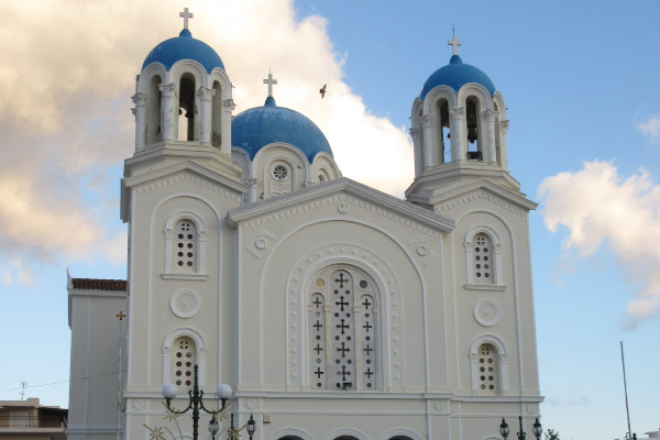 The front side of the cathedral of St. Nikolaos in Karystos.