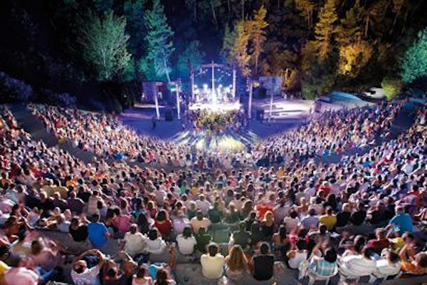 The crowded theater of Siviri during a concert of the Kassandra Festival in Halkidiki.