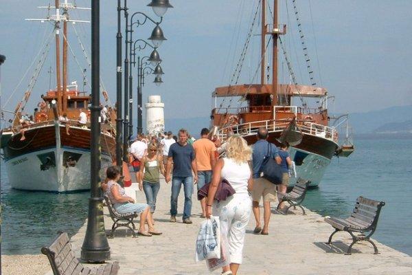 Daily boats anchored by the Pier of Pefkochori on Kassandra.