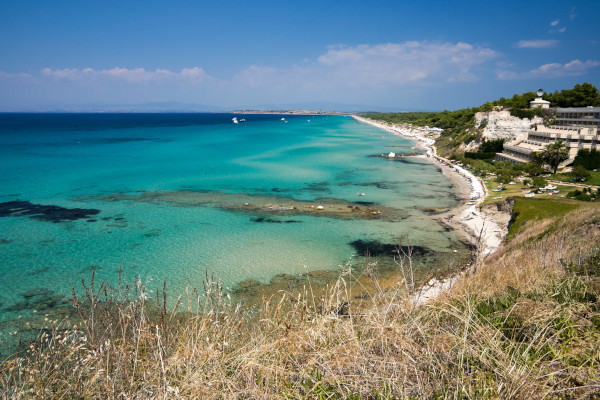A panoramic picture of the Sani Beach of Kassandra in Halkidiki.